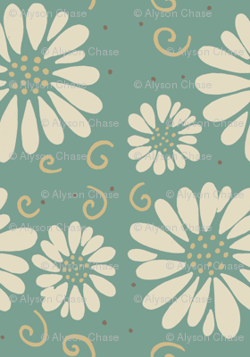 daisies and swirls teal/ivory