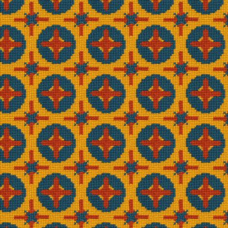 Yellow & Blue Stitches fabric by effiedee on Spoonflower - custom fabric