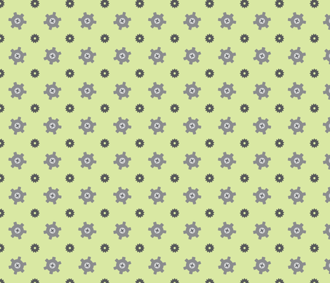Green gear fabric by petitspixels on Spoonflower - custom fabric