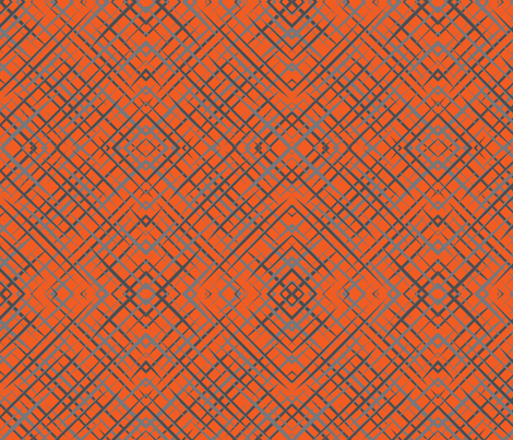Wave_Plaid_-_Gray Orange-ch-ch fabric by lkglioness on Spoonflower - custom fabric
