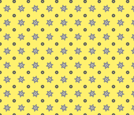 Yellow gear fabric by petitspixels on Spoonflower - custom fabric