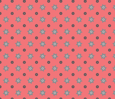 Red gear fabric by petitspixels on Spoonflower - custom fabric