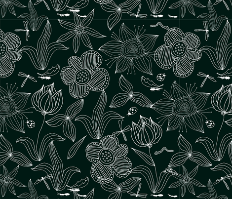 Doodle flowers fabric by anastasiia-ku on Spoonflower - custom fabric