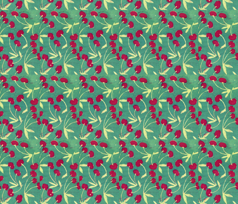 cherries, basic repeat fabric by hooeybatiks on Spoonflower - custom fabric