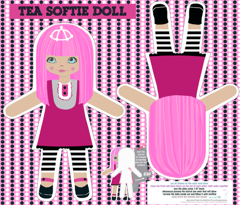 TEA -cut and sew softie doll fabric by katarina on Spoonflower - custom fabric