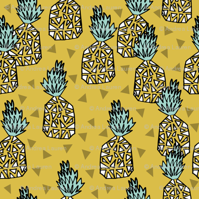 pineapple // geo geometric hand-drawn sweet golden yellow tropical hawaii exotic fruit fruits sweet summer