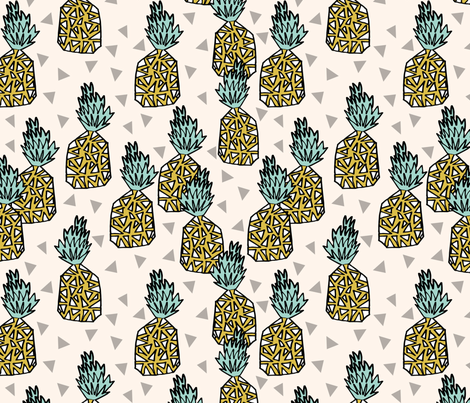 pineapple // pineapples sweet summer fruits tropical pineapple sweet geo geomtric tropical design fabric by andrea_lauren on Spoonflower - custom fabric