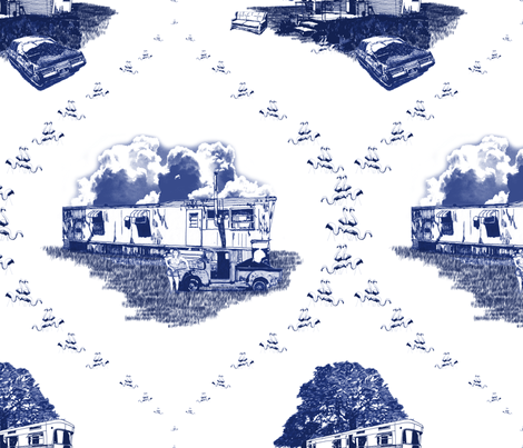 Trailer Trash Toile (Blue on White) fabric by seidabacon on Spoonflower - custom fabric