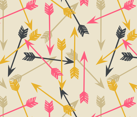 arrows scattered // cream southwest girly trendy tribal print for girls decor fabric by andrea_lauren on Spoonflower - custom fabric