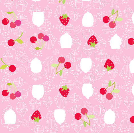 strawberries, cherries and cupcakes fabric by katarina on Spoonflower - custom fabric