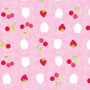 strawberries, cherries and cupcakes