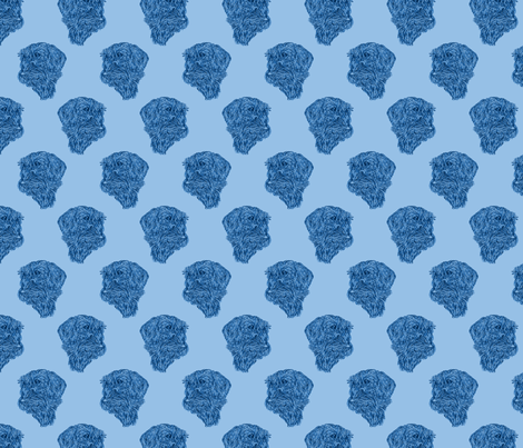 Wire-haired Dachshund sketch - blue fabric by rusticcorgi on Spoonflower - custom fabric