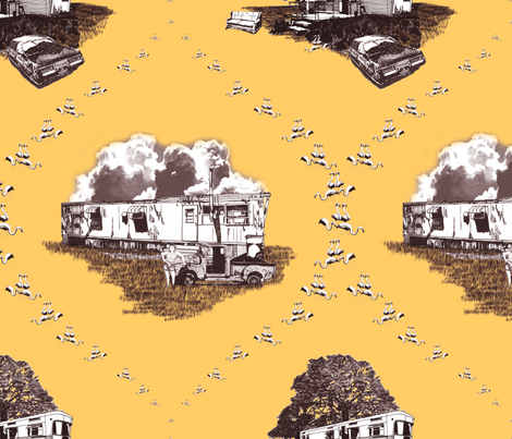 Trailer Trash Toile (Brown & Gold) fabric by seidabacon on Spoonflower - custom fabric