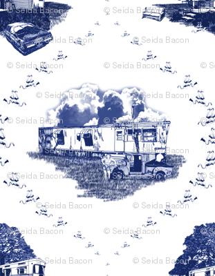 Trailer Trash Toile (Blue on White), Smaller