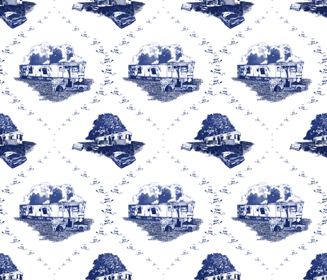 Trailer Trash Toile (Blue on White), Smaller fabric by seidabacon on Spoonflower - custom fabric