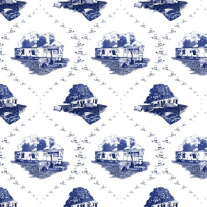 Trailer Trash Toile (Blue on White), Smaller