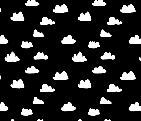 clouds // black and white trendy minimal cool scandi nursery fabric for textiles and nursery decor fabric by andrea_lauren on Spoonflower - custom fabric