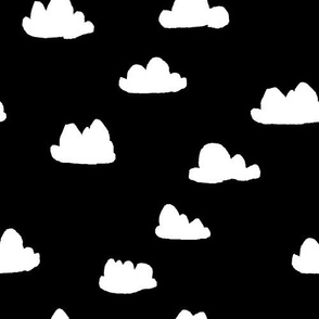 clouds // black and white trendy minimal cool scandi nursery fabric for textiles and nursery decor