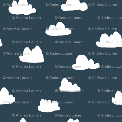 clouds // dark grayish blue cloud design for baby nursery