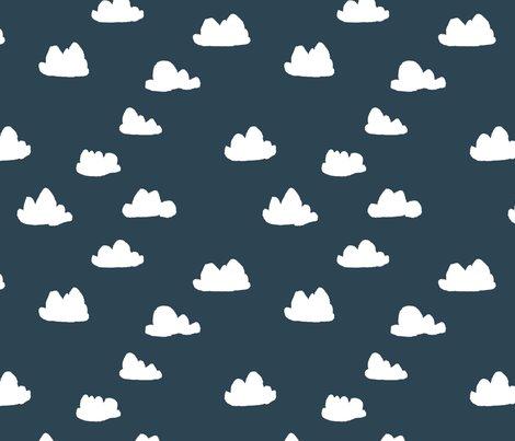 Grayish Blue clouds // dark grayish blue cloud design for baby nursery fabric