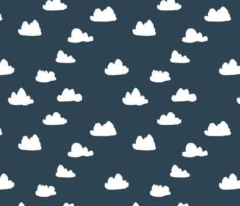clouds // dark grayish blue cloud design for baby nursery fabric by andrea_lauren on Spoonflower - custom fabric