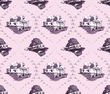 Trailer Trash Toile (Pink), Smaller fabric by seidabacon on Spoonflower - custom fabric