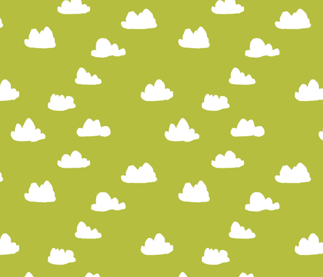 clouds // celery green cool scandi gender neutral clouds fabric by andrea_lauren on Spoonflower - custom fabric