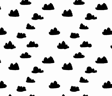 clouds // black and white cool scandinavian minimal nursery fabric simple cloud illustration for textiles and home deocr fabric by andrea_lauren on Spoonflower - custom fabric