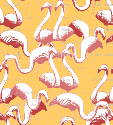 Plastic Flamingos (Pink on Gold)