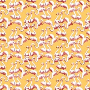 Plastic Flamingos (Pink on Gold)