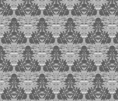 Triangular waratahs in grays by Su_G fabric by su_g on Spoonflower - custom fabric