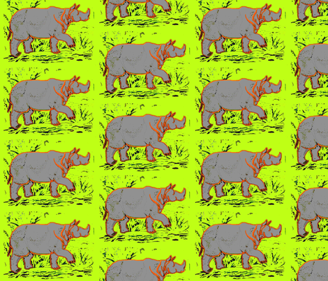Rhino  - neon yellow fabric by bettieblue_designs on Spoonflower - custom fabric