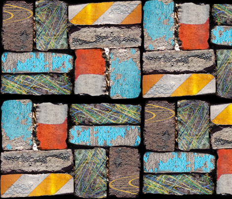 Follow the Urban Brick Road fabric by peacoquettedesigns on Spoonflower - custom fabric