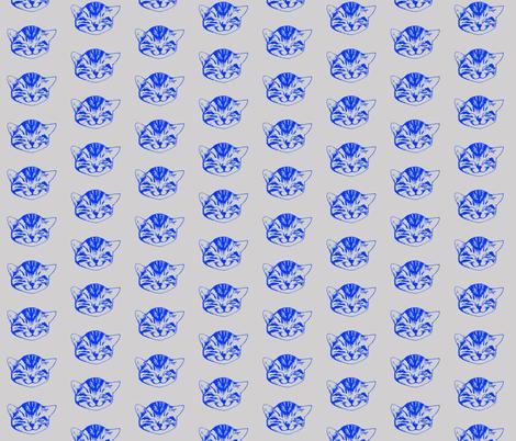 kitty small blue gray fabric by whateverworksbyandreastill on Spoonflower - custom fabric