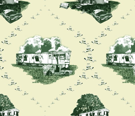 Trailer Trash Toile (Green & Yellow) fabric by seidabacon on Spoonflower - custom fabric