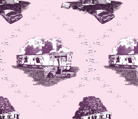 Trailer Trash Toile (Purple & Pink) fabric by seidabacon on Spoonflower - custom fabric