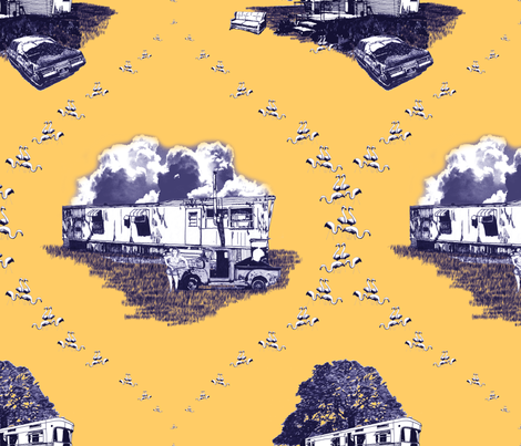 Trailer Trash Toile (Purple & Gold) fabric by seidabacon on Spoonflower - custom fabric