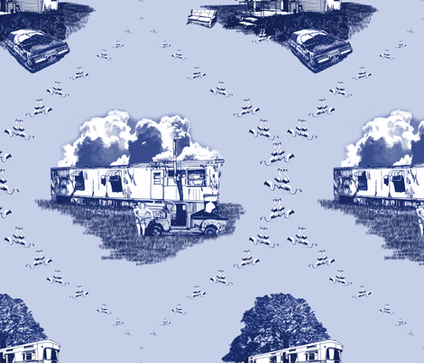 Trailer Trash Toile (Blue on Blue) fabric by seidabacon on Spoonflower - custom fabric