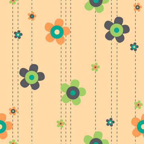 SUMMER BREEZE - FLOWER GARLAND 2 fabric by doodletrain on Spoonflower - custom fabric