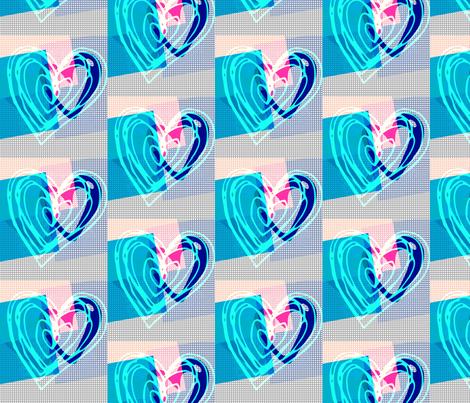 Heart Arts BLue fabric by _vandecraats on Spoonflower - custom fabric