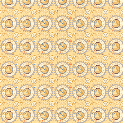Steampunk Time Machine Doll Fabric Basic  © 2011 by Jane Walker fabric by artbyjanewalker on Spoonflower - custom fabric