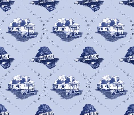 Trailer Trash Toile (Blue on Blue), Smaller fabric by seidabacon on Spoonflower - custom fabric