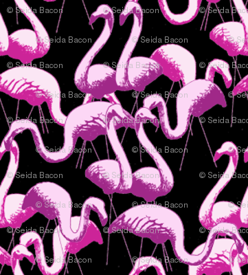 Plastic Flamingos (Pink on Black)