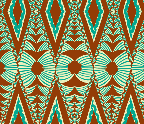 Old School , Tongan Tapa  green-ch fabric by sophista-tiki_by_dawn_frasier on Spoonflower - custom fabric