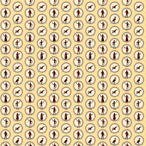 Steampunk Character Silhouettes -- Miniature version  ©2012 by Jane Walker fabric by artbyjanewalker on Spoonflower - custom fabric