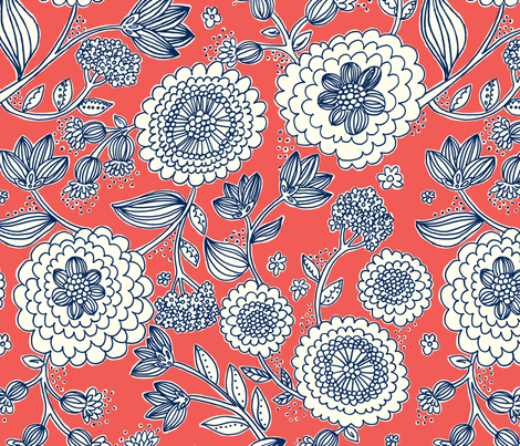 Flower_Fun_coral_navy - stacyiesthsu - Spoonflower