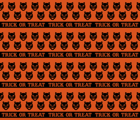 Trick or Treat ~ Cats (Orange variant ~ no.2) fabric by retrorudolphs on Spoonflower - custom fabric