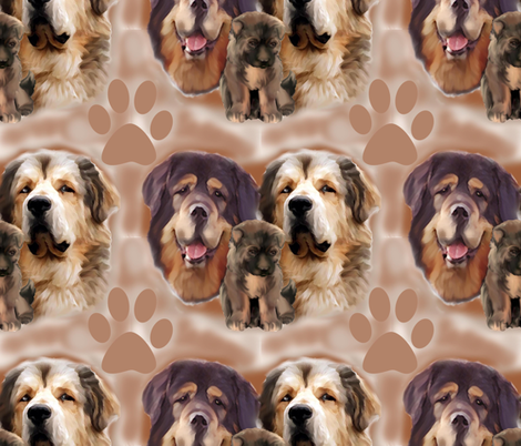 Tibetan Mastiff family group fabric by dogdaze_ on Spoonflower - custom fabric