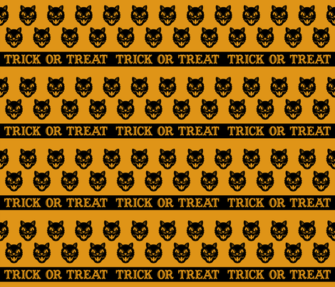 Trick or Treat ~ Cats (antique gold variant no. 2) fabric by retrorudolphs on Spoonflower - custom fabric