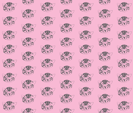 kitty small pink gray fabric by whatever-works on Spoonflower - custom fabric